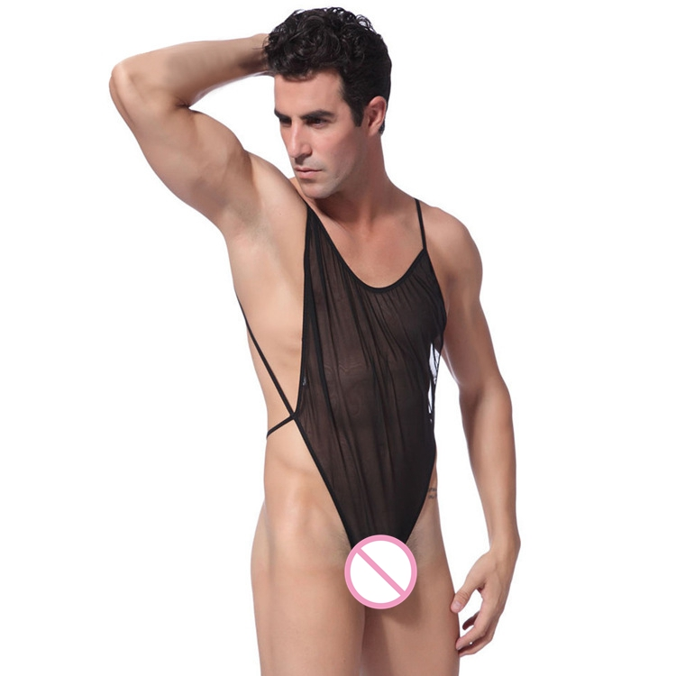 Men's Lingerie Sleeveless One-piece Body Suit Sheer Net Yarn Sissy Pouch Jumpsuit Slim Fit Stretchy Nightwear Sleepwear
