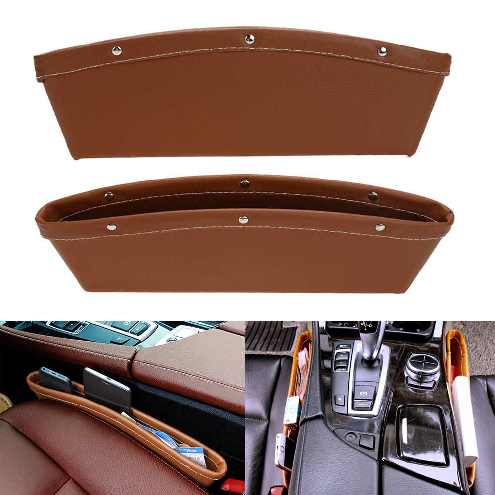 1 PCS Creative Car Storage Box Leather Auto Car Seat Gap Pocket Catcher Organizer Leak-Proof Storage Box Car Trunk Bag Container 2pcs car seat gap pocket catcher organizer leak proof storage bags multifunctional seat gap store content box a8046