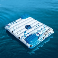 87'' Inflatable Floating Lounge Mattress Bed With Pillows Ice Cooler 2 Cup Holders Pool Float Airmat Water Toys Pool Fun