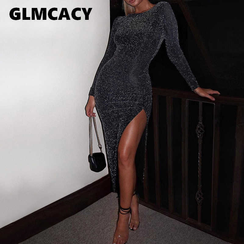 Women Glitter Long Maxi Dress Side Slit Long Sleeve Bodycon Dresses Sexy  Party Dress Night Out c45c7df8bbd6