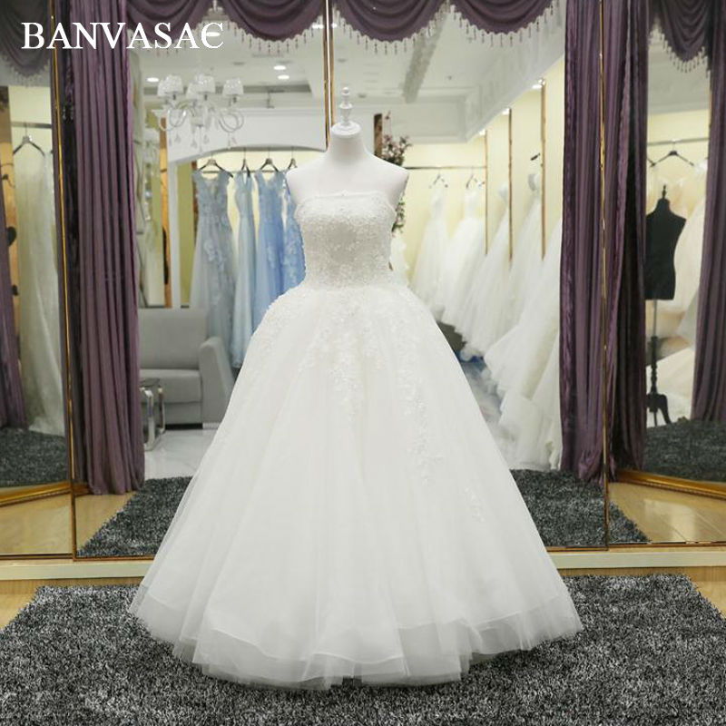 BANVASAC 2017 New Luxury Crystals Strapless Wedding Dresses Sleeveless Embroidery Satin Lace Bridal Ball Gowns