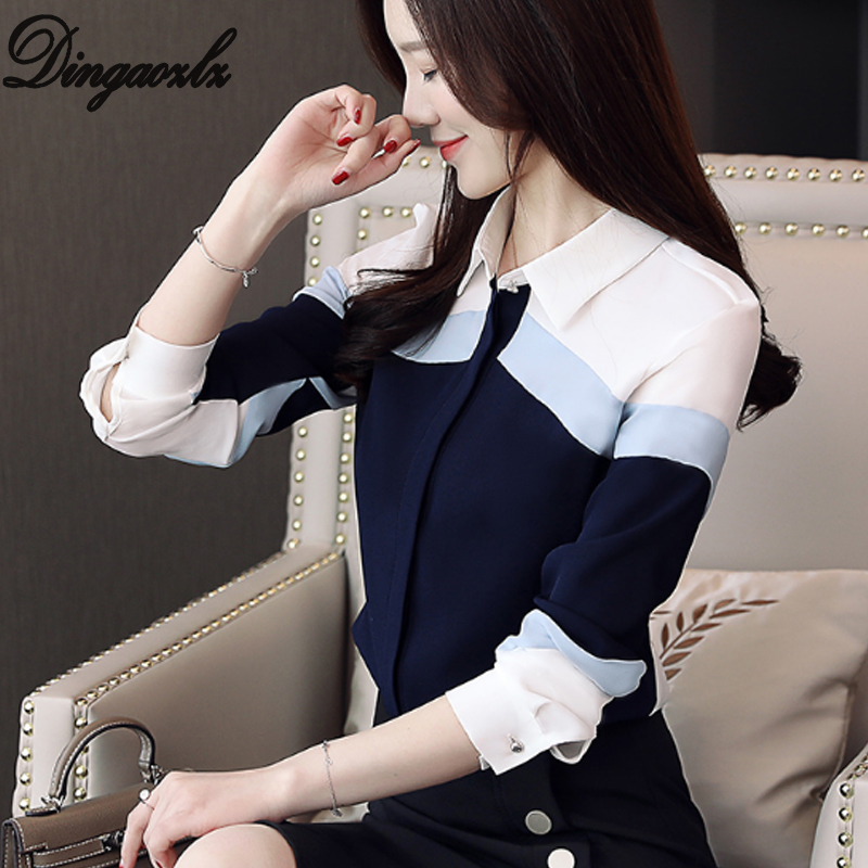 Dingaozlz Blusa Feminina Women Clothing New Chiffon Blouse Korean Fashion Long Sleeve Shirt Stitching OL Tops