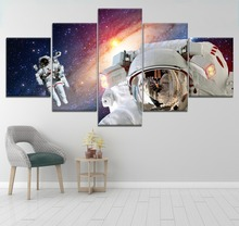 5 Piece HD Print Painting Astronauts Outer Space Planet Poster Cuadros Landscape Canvas Wall Art Home Decor For Living Room