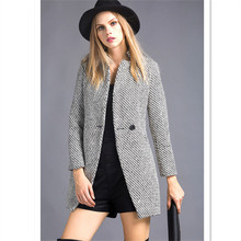 Brand New High Quality Wool Blends 7XL Plus Size Turn Down Collar Single Buttons Gray Slim Plaid 2015 Winter Coats For Women