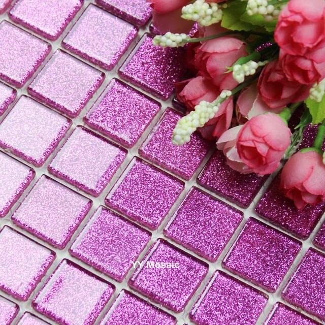 €182.92 |Tuile de mosaïque en verre rose brillant romantique pour salle de  bain Kithcen carrelage mural carrelage salle de maquillage salle ...