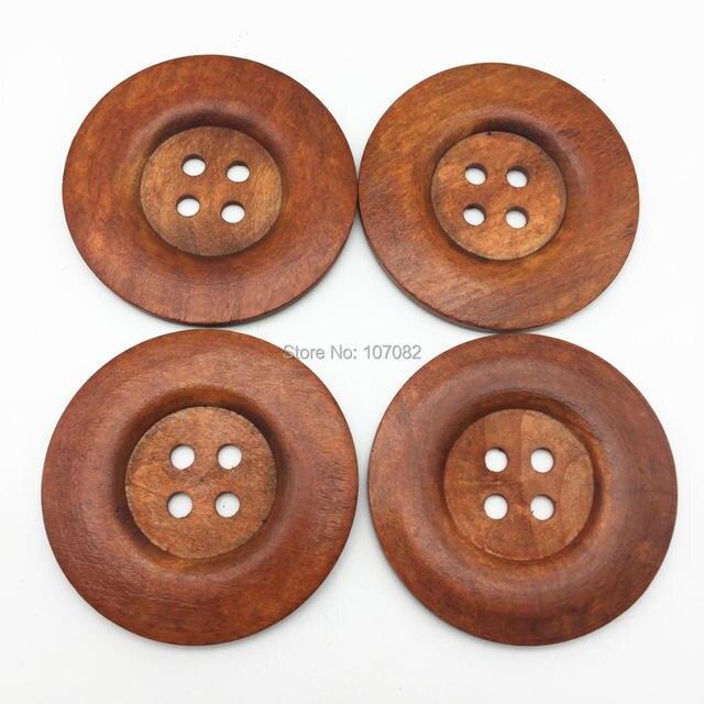 40 шт., деревянные пуговицы с 4 отверстиями, 60 мм, 6 см