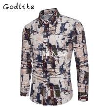 GODLIKE vyrų pavasario ir rudens naujos užsienio prekybos didelės ilgio rankovės, jaunimo mados atsitiktinis marškinėliai, spausdinami marškiniai