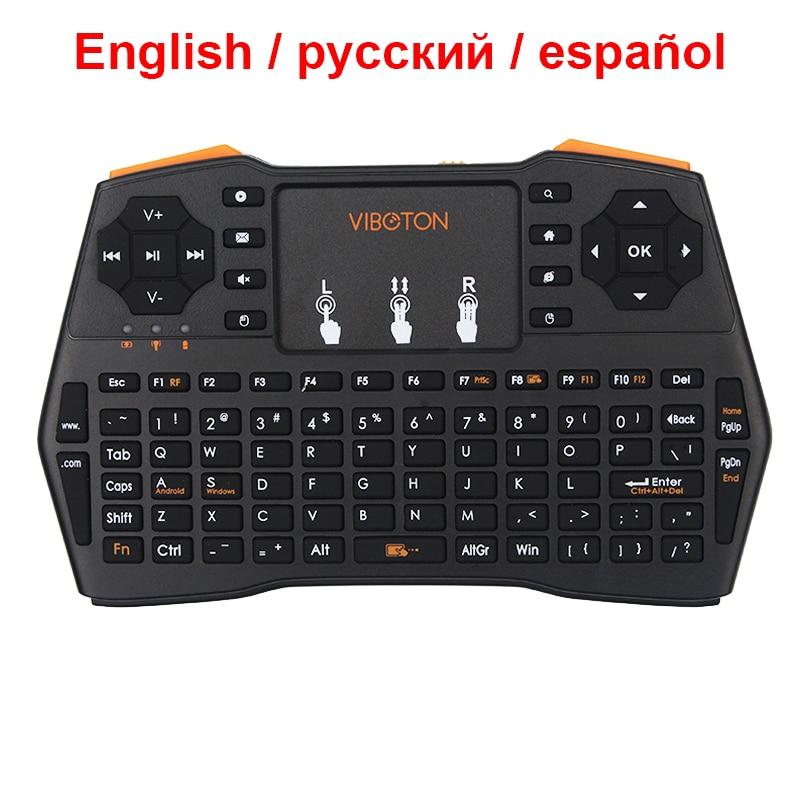 Ruština Španělština Angličtina Klávesnice 2.4G Bezdrátové dálkové ovládání Combo Mini klávesnice pro Mini PC Android TV Malina Pi 3 Laptop