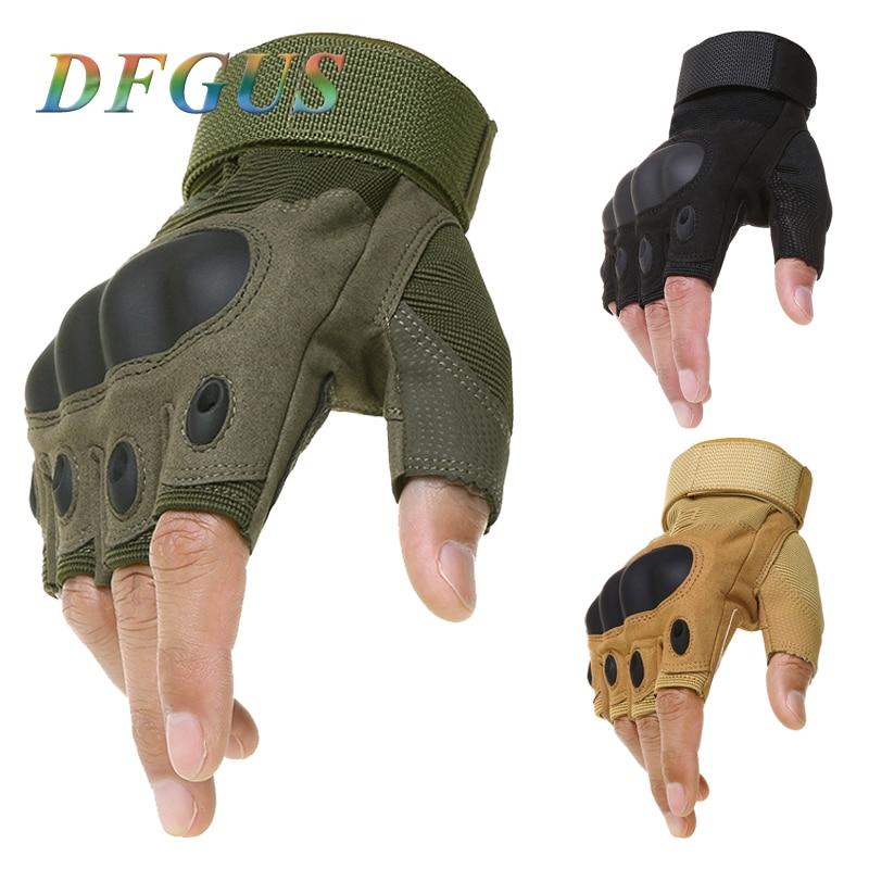 Guantes tácticos sin dedos militares ejército tiro Paintball Airsoft bicicleta Motorcross combate duro nudillo medio dedo guantes