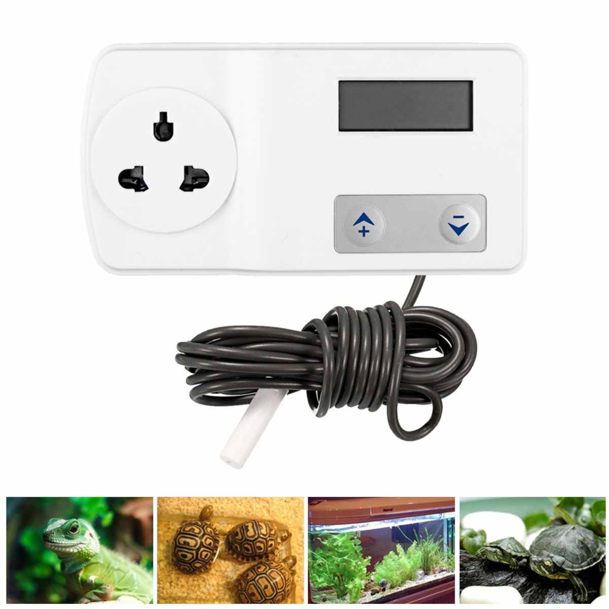 White Plastic Digital Thermostat Pet Reptiles Crab Snake Lizard Feeding Box Terrarium Temperature Control Products Supplies