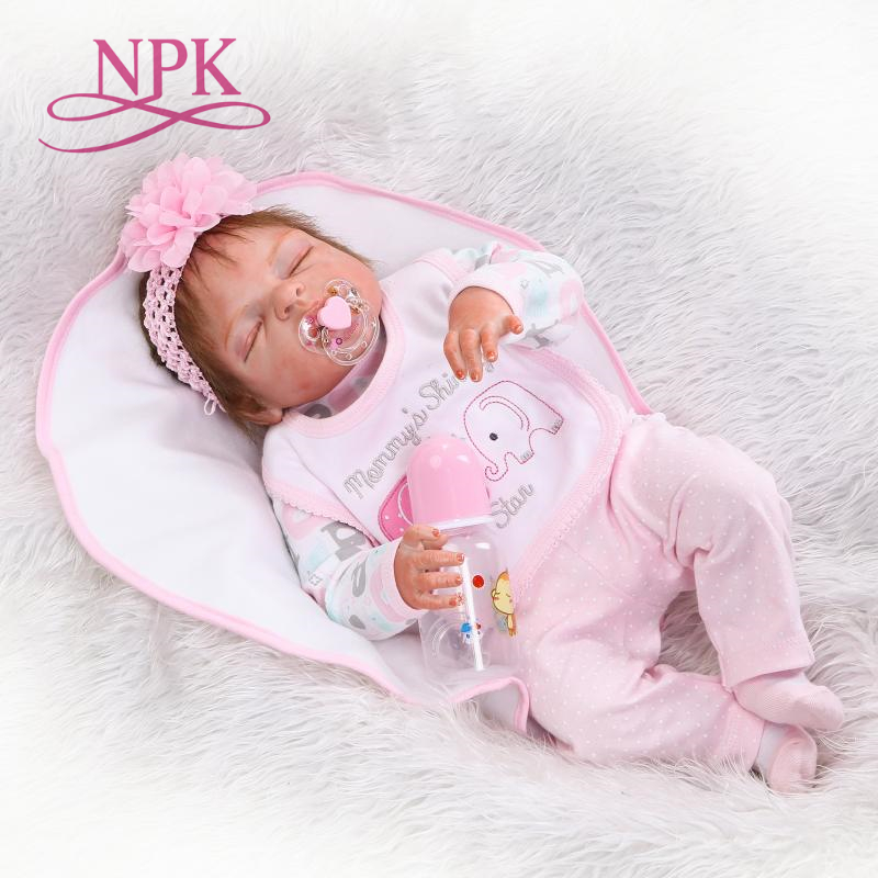 NPK handmade reborn baby 55cm 22inch full vinyl doll sleeping baby doll baby paying toys for