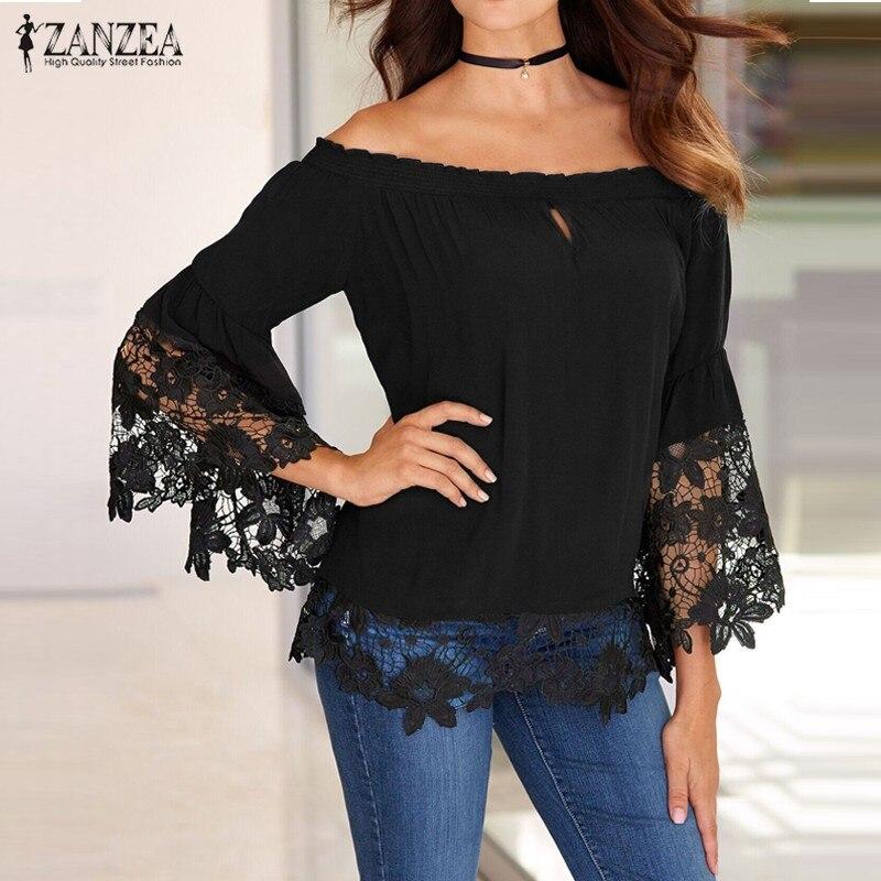 ZANZEA Women Blouses 2016 Sexy Slash Neck Off Shoulder Shirts Flare Long Sleeve Patchwork Lace Crochet Blusas Casual Tops