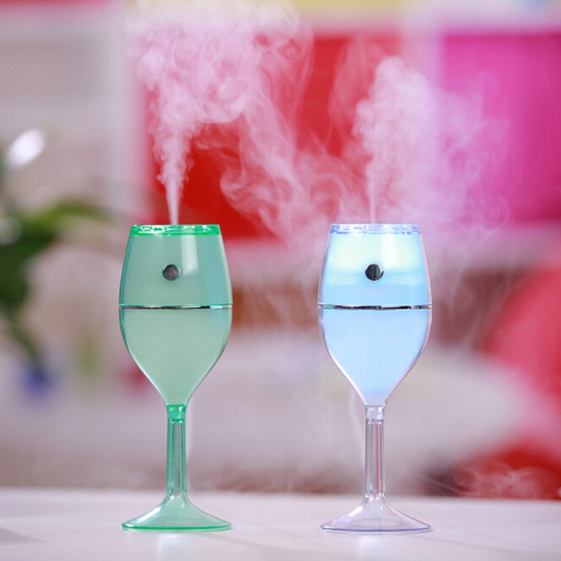 Useful Air Humidifier Red Wine Cup USB Colorful Night Lamp No Noise Mini Portable Air Cleaner for Home Bathing Accessory Set