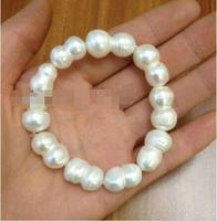 FREE SHIPPING HOT sell new Style >>>>Huge Natural White Baroque Freshwater Pearl Stretch Bracelet