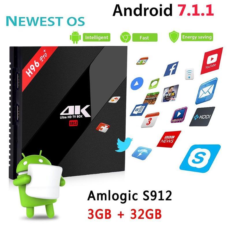 ALLOYSEED H96 Pro+ Amlogic Octa-core HD Media Player Set Top Box Android TV Box 3G+32G WiFi BT HDMI 4K (EU Plug)