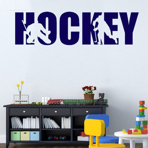 Image 1 - ホッケー選手壁ステッカービニール壁ステッカー少年十代の子供ルームステッカー活動装飾デカール 3YD26