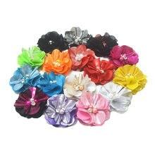 25 pçs/lote, 5.5 cm brilhante flor com strass pérola para acessórios apperal cabelo headwear headband da flor DIY