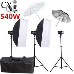 CY Photography Flash Soft Box Lighting Kits 540ws Storbe Light Softbox Stand Set Photo Studio Accessories Godox K-180A