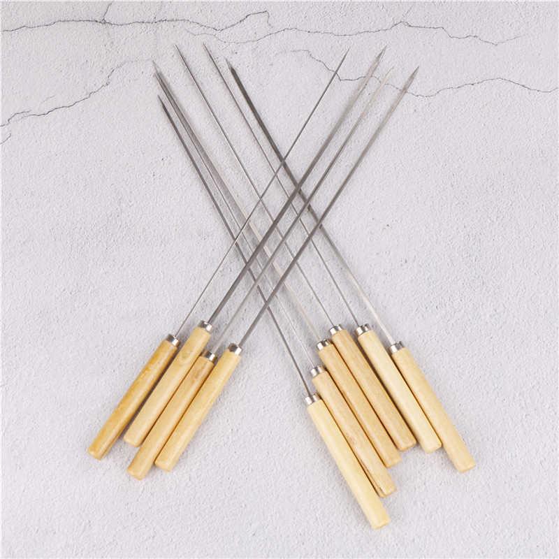 10 ピース/ロットバーベキュー串ハンドルとハンドル 35 センチメートルバーベキュー針木材ステンレス鋼フラット化丸いサインオプション肉