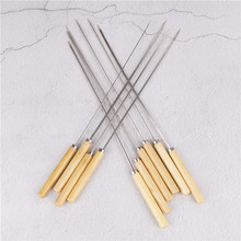 10PCS/lot BBQ Skewers Handle With Handle 35CM Barbecue Needle Wood Stainless Steel Flattened Rounded Sign Optional Meat(China)
