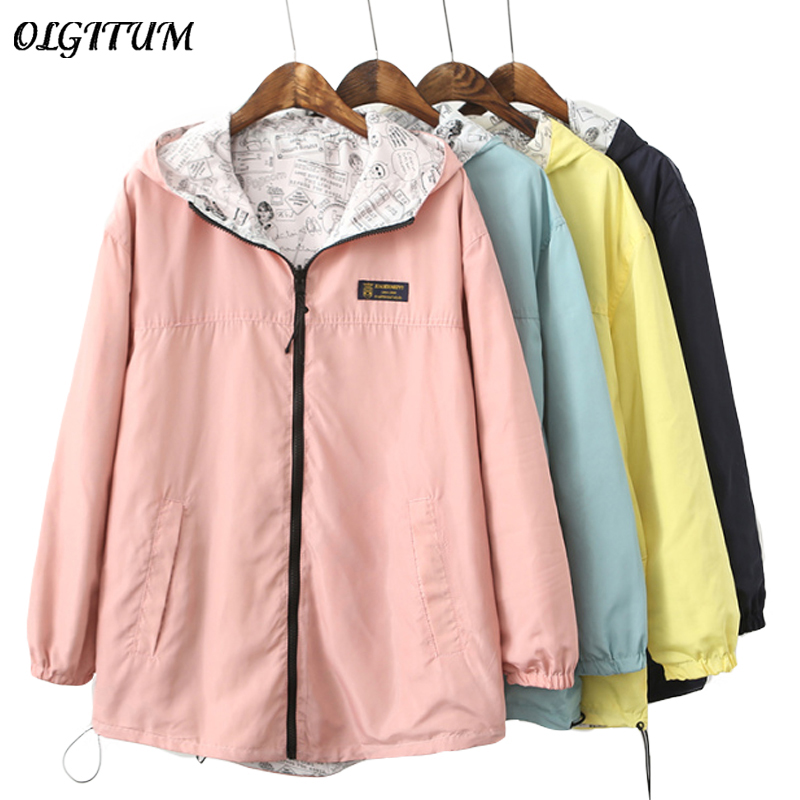 NEW 2019 Spring Fashion women Bomber women Jacket Pocket Zipper hooded two side wear Cartoon print outwear loose plus size