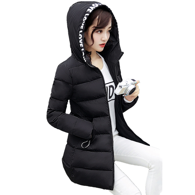 Hot Sale Women Coat 2017 Winter Korean Thick Long Section Hooded Down & Parkas Jacket Slim Was Thin Cotton - Padded Coat C422 long coat womens jacket new printing was thin down cotton padded thick coat windbreaker