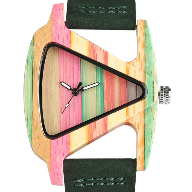 Creative Women Wood Watches Unique Colorful Wooden Triangle Hollow Quartz Wristwatch Ladies Elegant Fashion Genuine Leather Hour