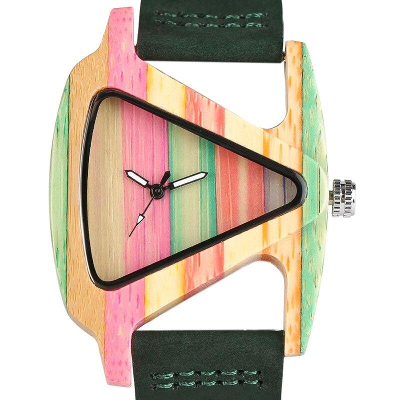 Creativa de las mujeres relojes de madera hecho de madera de triángulo hueco cuarzo reloj de pulsera damas de moda elegante de cuero genuino hora