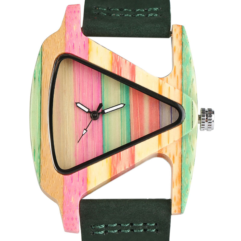 Kreative Frauen Holz Uhren Einzigartige Bunte Holz Dreieck Hohl Quarz Armbanduhr Damen Elegante Mode Echtem Leder Stunde