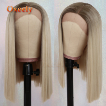 Oxeely Brown Blonde BOB Lace Wigs Synthetic Lace Front Wigs