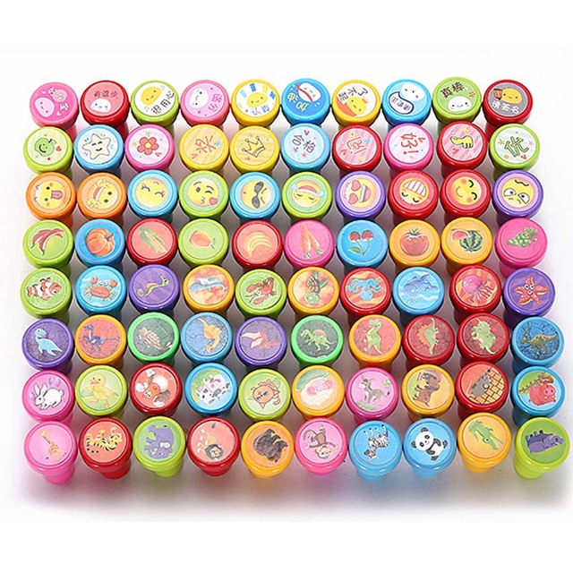 30 60Pcs Kids Encourage Drawing Toy Stamps Cartoon Smile Flower Rubber Set Multicolor Self Inking Stampers Toys