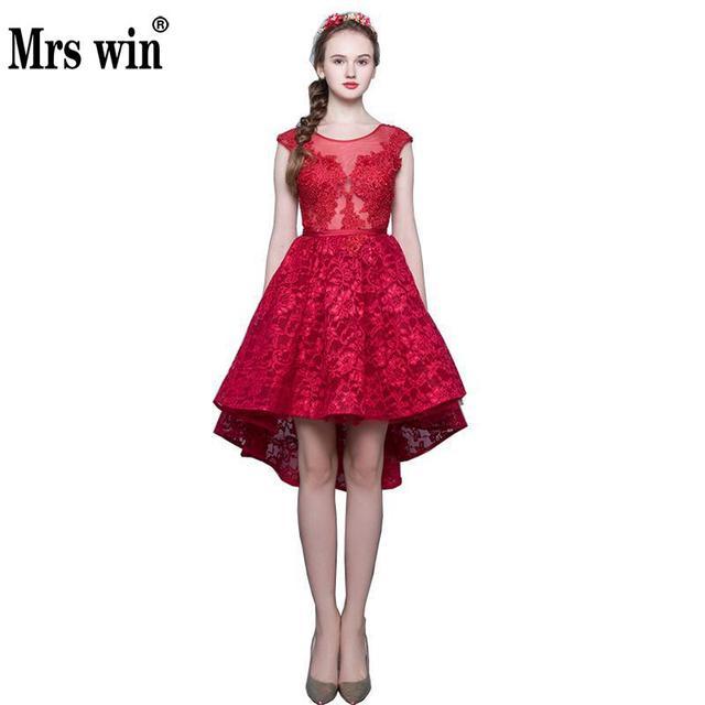 2018 Summer Fashion Wine Red Bride Evening Dress Front Short Long