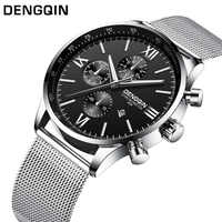 DENGQIN Fashion Quartz Watch Men Stainless S Watches Top Brand Luxury Male Clock Business Mens Wrist Watch Relogio Masculino