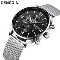 DENGQIN Fashion Quartz Watch Men Stainless S Watches Top Brand Luxury Male Clock Business Mens Wrist Watch Relogio Masculino