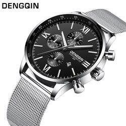 Dengqin moda relógio de quartzo dos homens inoxidável s relógios marca superior luxo masculino relógio de pulso do negócio dos homens relógio de pulso relogio masculino