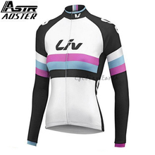 AOSTER 2018 Team Winter Thermal Fleece Cycling Jersey Ropa Long Sleeve Women Bike Wear liv Clothing цена