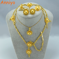 Latest Ethiopian Gold Set Jewelry 6pcs Set Necklace Earring Ring Bangle Forehead Hair Pcs 24k Gold