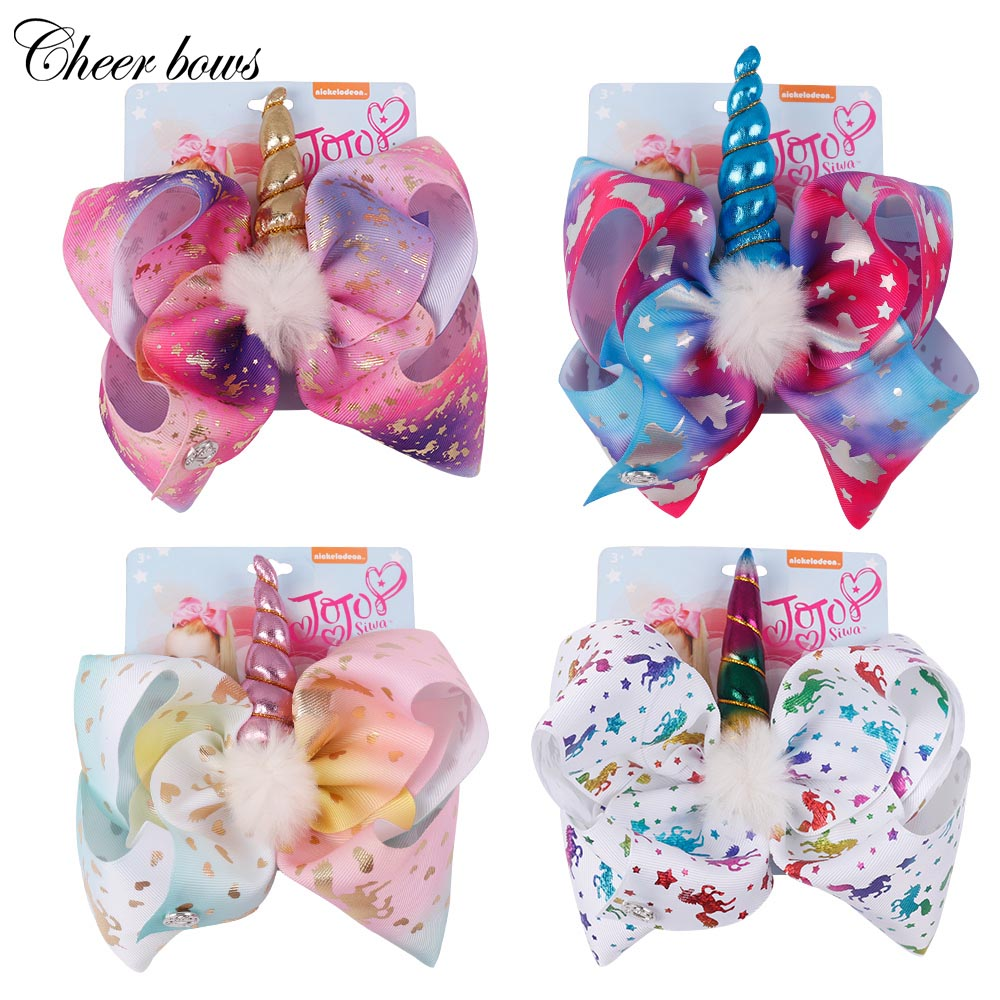 8 Inch Large Hair Bow White Pompom Rainbow Bow-knot Handmade printed ribbon Hairbows Girls Hair Accessories