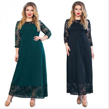 Plus Size 5XL 6XL2018 New Patchwork Women Autumn Dresses Elegant Party Maxi Dress Big Large Size Women Clothing Evening Vestido(China)