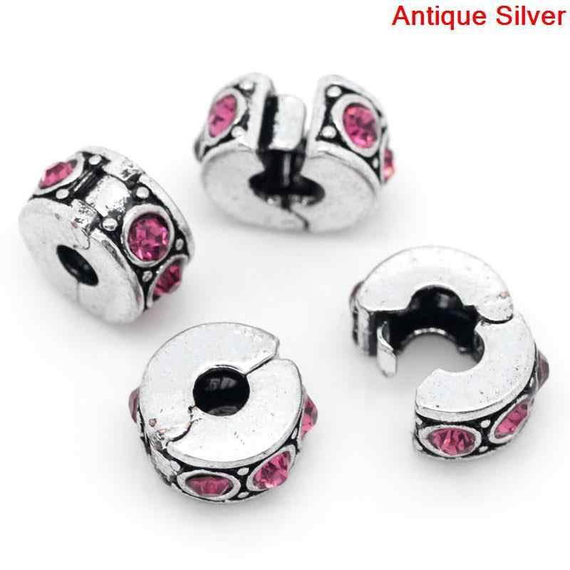 """Europejski styl klips i zamek okrągły antyczny srebrny różowy z Rhinestone 11mm (3/8 """") x 10mm (3/8""""), 1 sztuka nowy"""
