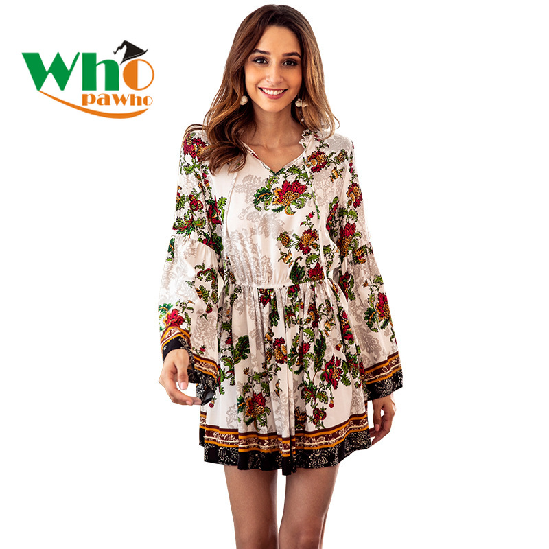 New Women's Autumn Dress Printing Long-sleeved V-neck Dress Holiday Party Sexy Dresses