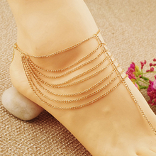 Women' Summer Beach Multi Tassel Toe Chain Foot Jewelry Anklet Ankle