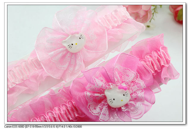 24 pcs per lot 2 colors cute hello kitty lace fabric flower kids baby infant hair ties hairbands & headbands H5024 Fashion