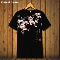 Chinese National Style Flower Bird Pattern Fashion Casual Short Sleeve T Shirt Summer 2017 Quality Breathable