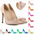 Europe and United States pointed toe bow tie bowknot pu leather high heels shallow mouth thin heel pumps neon yello color 35-42