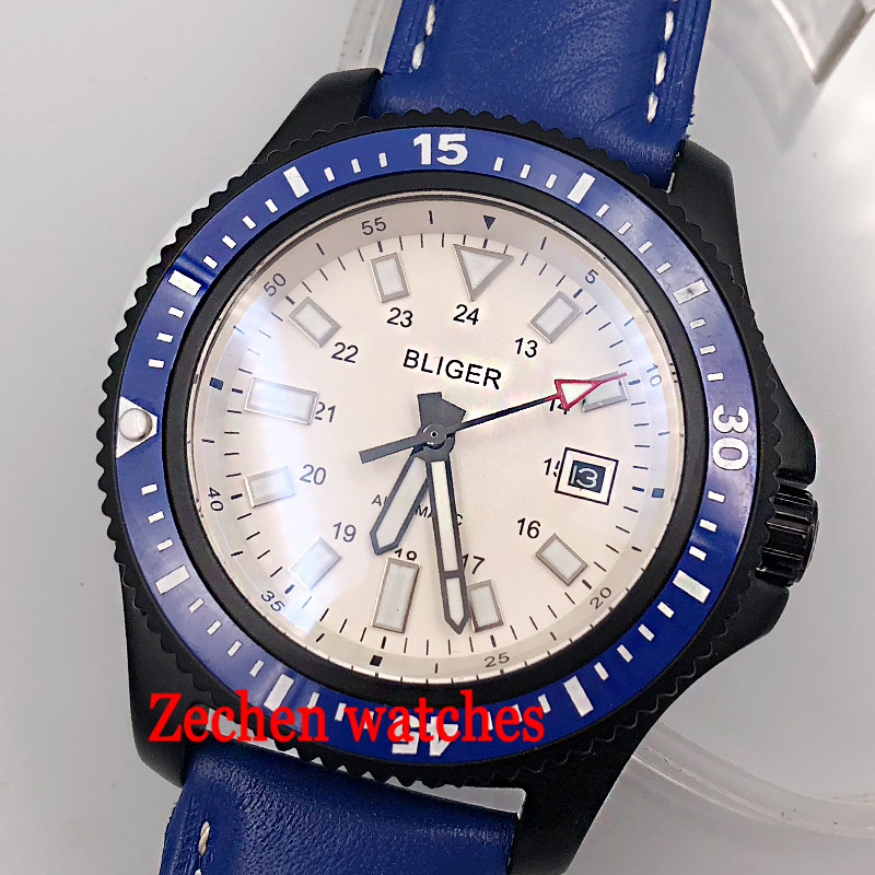 44mm Bliger automatic watch white dial glowing sliver 316L case glass blue band for men in polished blacke ceramics men's watch white ceramics band design mens leisure watch
