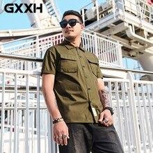 GXXH, высокое качество, Мужская тактическая рубашка карго, хлопок, мужская рубашка в Военном Стиле, Camisa Masculina, армейский зеленый цвет, большие размеры, Xxxxl, мужская рубашка