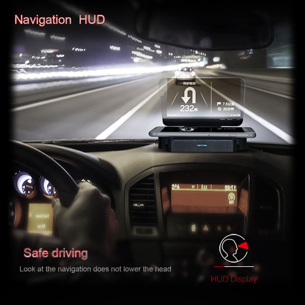 For Universal Car HUD Holder Head Up Display Projector Bracket and wireless charger for mobile phone Head to head safe driving