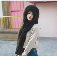2019 Brand New Genuine Fox Fur Hand Knitted Russian Women's Winter Fur Hooded Scarf Scarves Real Fur Hat Caps Soft Fluffy Warm