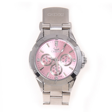 Lady Quartz Wrist Watch Wristwatch Round Pink Rhinestone Dial Steel Band